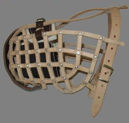 leather basket dog muzzle