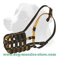 Large dog muzzle- leather dog muzzle for big dogs