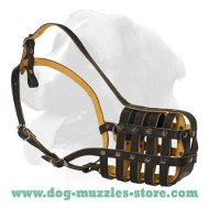 Padded leather Super Ventilation dog muzzle for all breeds