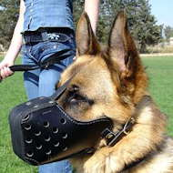 "Leather dog muzzle ""Dondi"" style For German Shepherd Dog"