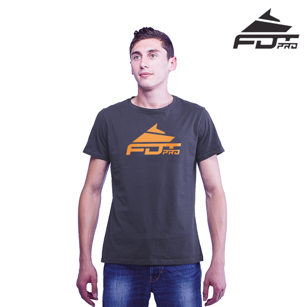 Fine Quality Cotton Professional Men T-shirt of Dark Grey Color