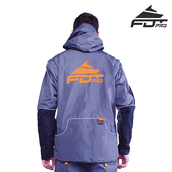 FDT Pro Dog Training Jacket of Grey Color with Strong Side Pockets